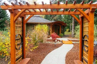 Entryway to the round Mandala Home Open House in Nelson BC