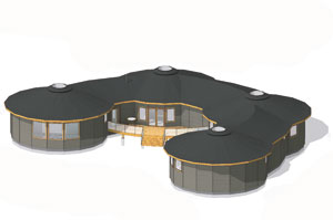 round house plans. Tamarack Series Four Mandala Circles Can Be Designed In A Pattern That Most Perfectly Suits The New Home Owner. Featuring Multiple Cathedral Ceilings, Round House Plans